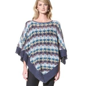 Missoni Blue Mohair Crochet Poncho Cape